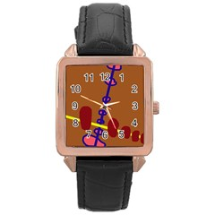 Brown Abstraction Rose Gold Leather Watch  by Valentinaart