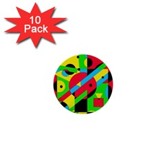 Colorful Geometrical Abstraction 1  Mini Buttons (10 Pack)  by Valentinaart