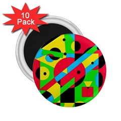 Colorful Geometrical Abstraction 2 25  Magnets (10 Pack)  by Valentinaart