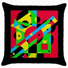 Colorful Geometrical Abstraction Throw Pillow Case (black) by Valentinaart