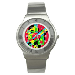 Colorful Geometrical Abstraction Stainless Steel Watch by Valentinaart