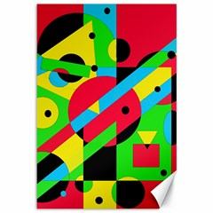 Colorful Geometrical Abstraction Canvas 12  X 18   by Valentinaart
