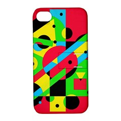 Colorful Geometrical Abstraction Apple Iphone 4/4s Hardshell Case With Stand by Valentinaart
