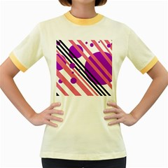 Purple lines and circles Women s Fitted Ringer T-Shirts by Valentinaart