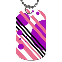 Purple Lines And Circles Dog Tag (two Sides) by Valentinaart