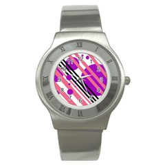 Purple Lines And Circles Stainless Steel Watch by Valentinaart