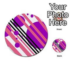 Purple Lines And Circles Multi Purpose Cards (round)  by Valentinaart