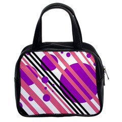 Purple Lines And Circles Classic Handbags (2 Sides) by Valentinaart