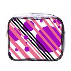 Purple Lines And Circles Mini Toiletries Bags by Valentinaart