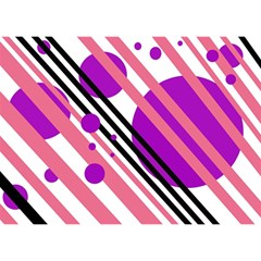 Purple Lines And Circles Birthday Cake 3d Greeting Card (7x5)  by Valentinaart