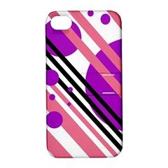 Purple Lines And Circles Apple Iphone 4/4s Hardshell Case With Stand by Valentinaart