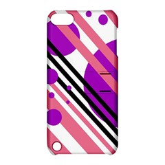Purple lines and circles Apple iPod Touch 5 Hardshell Case with Stand