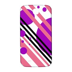 Purple Lines And Circles Samsung Galaxy S4 I9500/i9505  Hardshell Back Case by Valentinaart