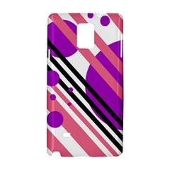 Purple Lines And Circles Samsung Galaxy Note 4 Hardshell Case by Valentinaart