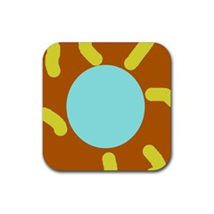 Abstract Sun Rubber Coaster (square)  by Valentinaart