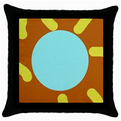 Abstract Sun Throw Pillow Case (black) by Valentinaart