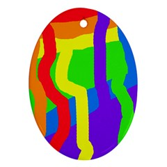 Rainbow Abstraction Ornament (oval)  by Valentinaart
