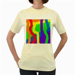 Rainbow Abstraction Women s Yellow T Shirt by Valentinaart