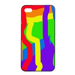 Rainbow Abstraction Apple Iphone 4/4s Seamless Case (black) by Valentinaart