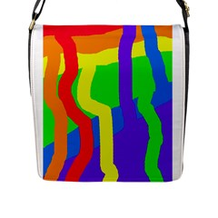 Rainbow Abstraction Flap Messenger Bag (l)  by Valentinaart