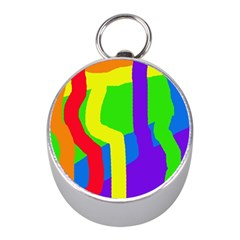 Rainbow Abstraction Mini Silver Compasses by Valentinaart