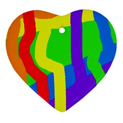 Rainbow Abstraction Ornament (heart)  by Valentinaart