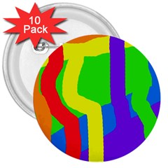Rainbow Abstraction 3  Buttons (10 Pack)  by Valentinaart