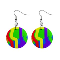 Rainbow Abstraction Mini Button Earrings by Valentinaart