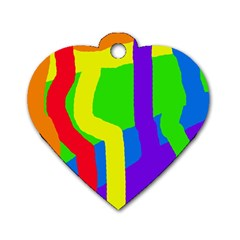 Rainbow Abstraction Dog Tag Heart (two Sides) by Valentinaart