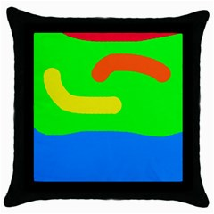 Rainbow Abstraction Throw Pillow Case (black) by Valentinaart