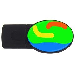 Rainbow Abstraction Usb Flash Drive Oval (4 Gb)  by Valentinaart