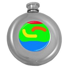 Rainbow Abstraction Round Hip Flask (5 Oz) by Valentinaart