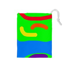 Rainbow Abstraction Drawstring Pouches (medium)  by Valentinaart