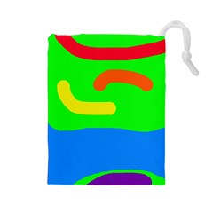 Rainbow Abstraction Drawstring Pouches (large)  by Valentinaart