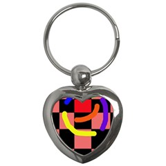 Multicolor Abstraction Key Chains (heart)  by Valentinaart