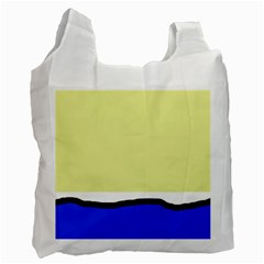 Yellow And Blue Simple Design Recycle Bag (one Side) by Valentinaart