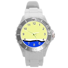 Yellow And Blue Simple Design Round Plastic Sport Watch (l) by Valentinaart