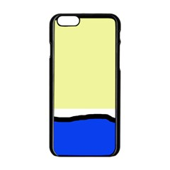 Yellow And Blue Simple Design Apple Iphone 6/6s Black Enamel Case by Valentinaart