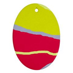 Red And Yellow Design Ornament (oval)  by Valentinaart