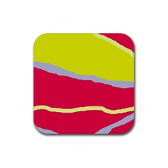 Red And Yellow Design Rubber Coaster (square)  by Valentinaart