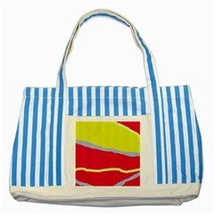 Red And Yellow Design Striped Blue Tote Bag by Valentinaart