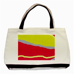 Red And Yellow Design Basic Tote Bag (two Sides) by Valentinaart