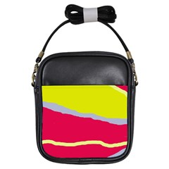 Red And Yellow Design Girls Sling Bags by Valentinaart