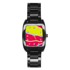 Red And Yellow Design Stainless Steel Barrel Watch by Valentinaart