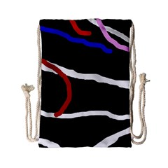 Decorative Lines Drawstring Bag (small) by Valentinaart