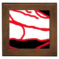 Red, Black And White Design Framed Tiles by Valentinaart