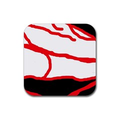 Red, Black And White Design Rubber Coaster (square)  by Valentinaart