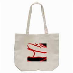Red, Black And White Design Tote Bag (cream) by Valentinaart