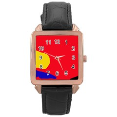 Colorful Abstraction Rose Gold Leather Watch  by Valentinaart