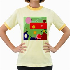Optimistic Abstraction Women s Fitted Ringer T Shirts by Valentinaart